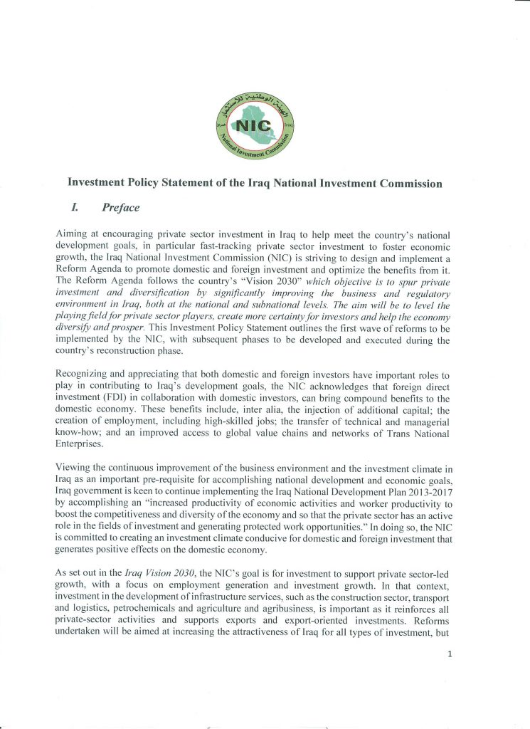Investment Policy Statement Of The Iraq National Investment